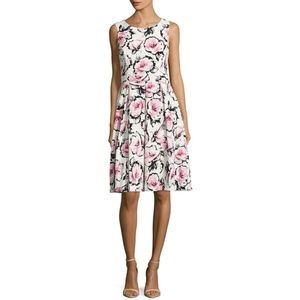 PLUS NEW KARL LAGERFELD Floral Pink Flare Dress